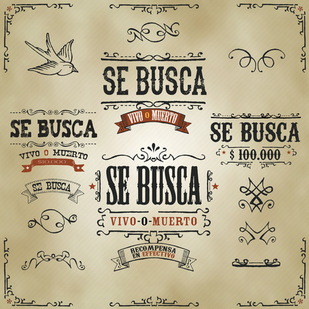 Illustration of a set of hand drawn vintage old wanted, se busca vivo o muerto in spanish language, western movie placard banners, with sketched floral patterns, ribbons, on striped background.