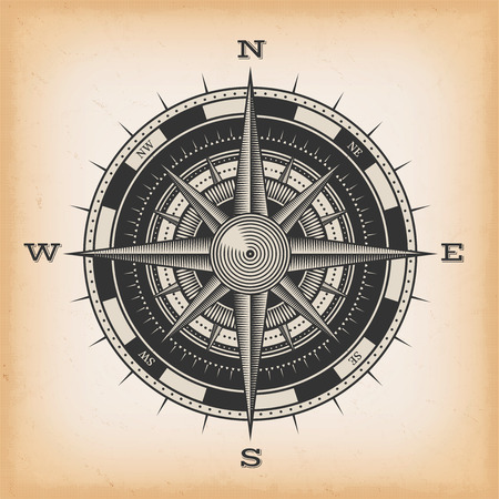 Illustration of a nautical compass rose on vintage old textured background