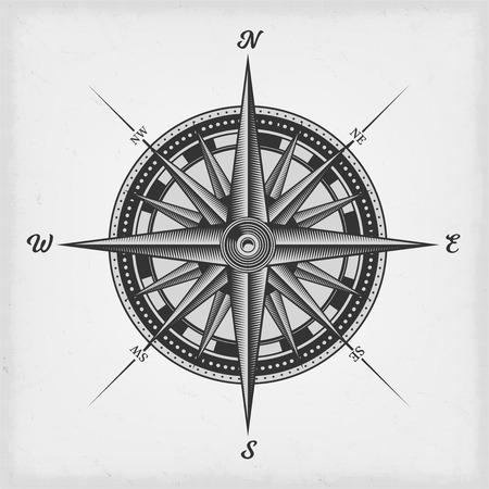 Illustration einer Schwarzweiss-Seekompassrose auf altem strukturiertem Hintergrund der Weinlese