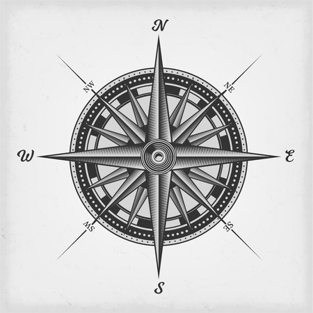 Illustration of a black and white nautical compass rose on vintage old textured background Imagens - 98146115