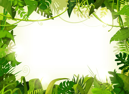 Illustration of a jungle landscape background, with ornaments made with leaves and foliage of tropical plants and trees. 일러스트