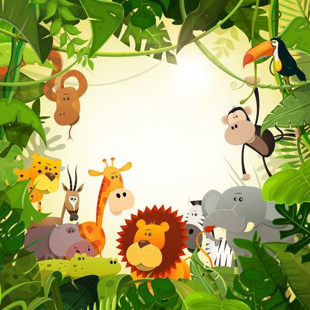 Illustration of cute various cartoon wild animals from african savannah, including lion, gorilla, elephant, giraffe, gazelle, monkey and zebra with jungle background Illustration
