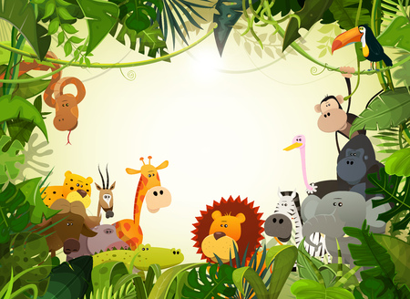 Illustration of cute cartoon wild animals from african savannah, including hippo, lion, gorilla, elephant, giraffe, gazelle, ostrich and zebra with jungle background