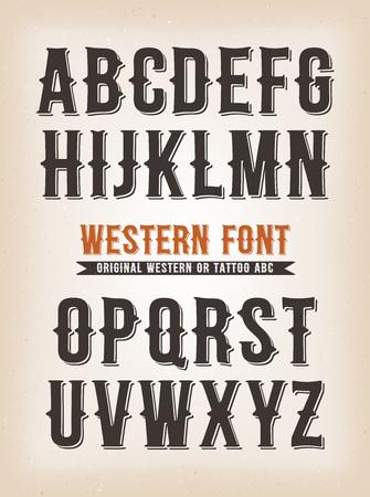 Illustrazione di un set di design occidentale retrò abc typefont, anche per tatuaggio su sfondo vintage e grunge