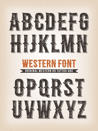 Illustration of a set of retro western design abc typefont, also for tattoo on vintage and grunge background