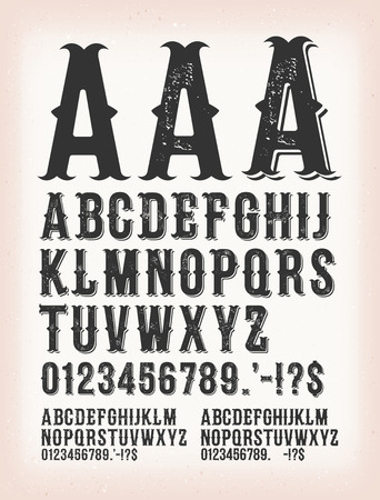 Illustration of a set of retro western design abc typefont, in regular, grunge and shadow version, also working for tattoo, on vintage and grunge background Stock Illustratie
