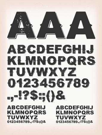 Illustrazione di un set di design ruggine retrò abc typefont, in versione regolare, grunge e shadow, su sfondo vintage