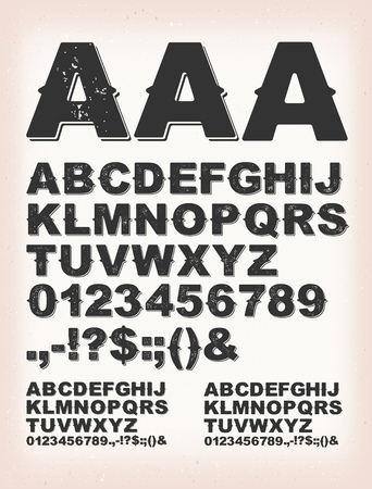 Illustration of a set of retro rust design abc typefont, in regular, grunge and shadow version, on vintage background Vectores