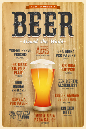 Illustration of a vintage poster with grunge texture, mouth watering beer glass, and a beer please text in many world languages.