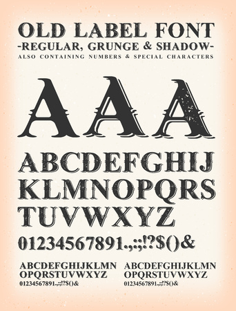 Illustration of a set of old western design type font, in regular, grunge and shadow version, on vintage and grunge background Illustration