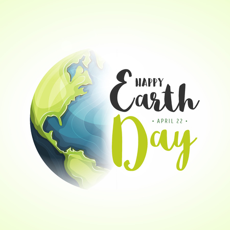 Illustration of a happy earth day banner, for nature and environment preservation holiday celebration