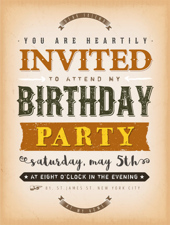 Illustration of a vintage old textured background with invitation message to a party, with floral patterns and hand-drawned corners