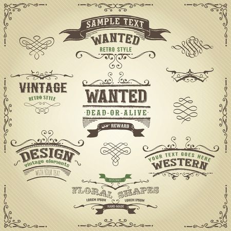 Illustration of a set of hand drawn western like sketched banners, floral patterns, ribbons, and far west design elements on vintage striped background.
