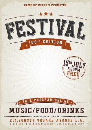 Illustration of a vintage old elegant music festival poster template, with western style and grunge texture Stok Fotoğraf - 99571073