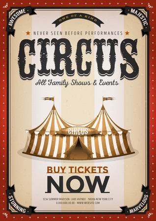 Illustration of an old-fashioned vintage circus poster, with big top, design elements and grunge textured background Ilustrace