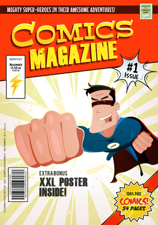 Illustration of a cartoon editable comic book cover template, with super hero character flying, titles and subtitles to customize, and wrong bar code and label Stockfoto - 103846934