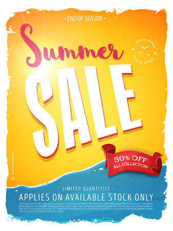 Illustration of a summer sale template banner with colorul elements, typography and grunge frame