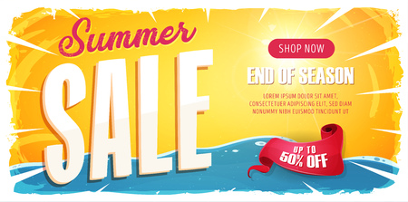 Illustration of a wide summer sale template banner with colorul elements, typography and grunge frame