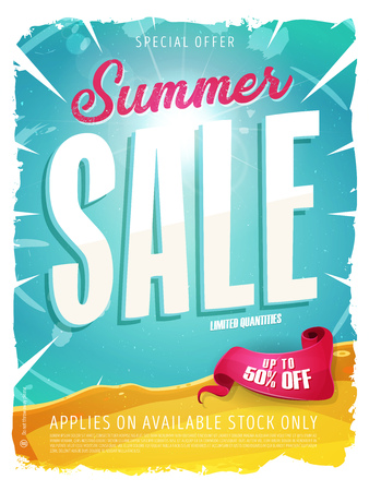 Illustration of a wide blue summer sale template banner with colorul elements, typography and grunge frame