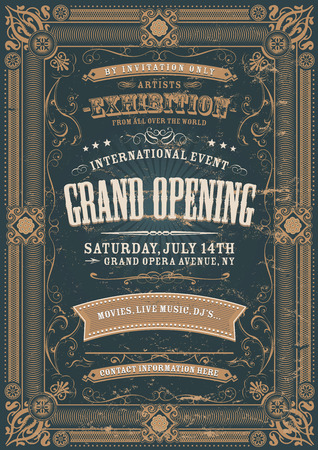 Illustration of a vintage invitation background to a grand opening exhibition with various floral patterns, frames, banners, grunge texture and retro design Ilustração