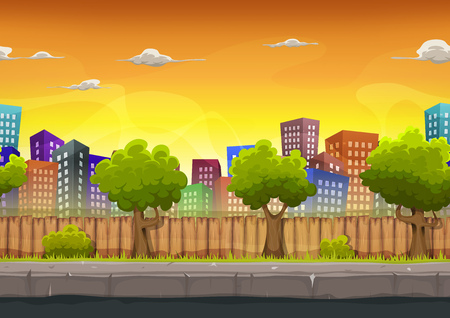 Illustration of a cartoon seamless urban city landscape with fancy buildings and skyscrapers, for game ui Ilustração