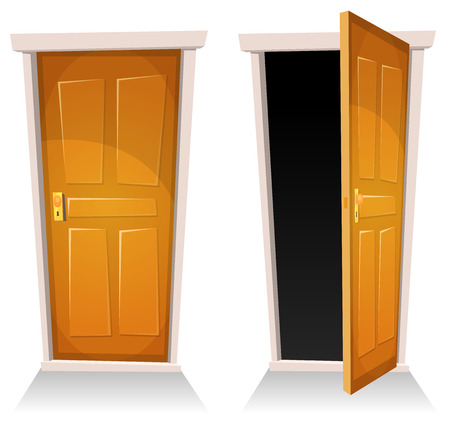 Illustration of a set of cartoon front doors opened and closed with sky background, symbolizing death frontier, paradise or heavens gate Stock Illustratie