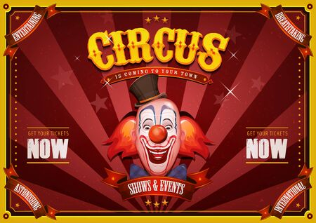 Illustration of retro and vintage circus poster background, with design clown face and grunge texture for arts festival events and entertainment background
