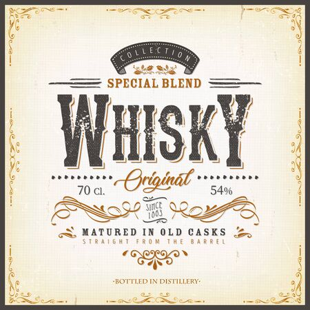 Illustration of a vintage design elegant whisky label, with crafted letterring, specific product mentions, textures and celtic patterns, on blue and gold background 일러스트