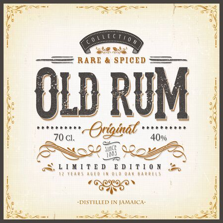 Illustration of a vintage design elegant rum beverage label, with crafted letterring, specific product mentions, textures and floral patterns Ilustração