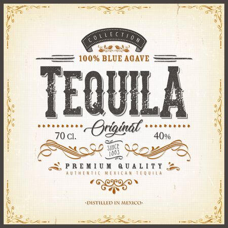 Illustration of a vintage design elegant tequila label, with crafted lettering, specific blue agave product mentions, textures and celtic patterns
