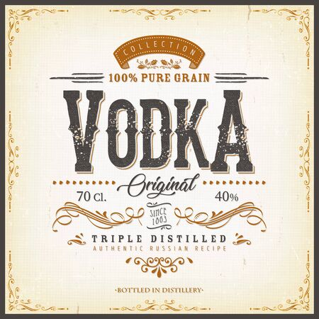 Illustration of a vintage design elegant vodka label, with crafted lettering, specific 100% pure grain product mentions, textures and hand drawn patterns
