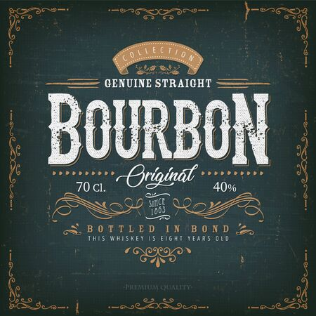 Illustration of a vintage design elegant whisky label, with crafted letterring, specific product mentions, textures and celtic patterns, on blue and gold background Stock Illustratie
