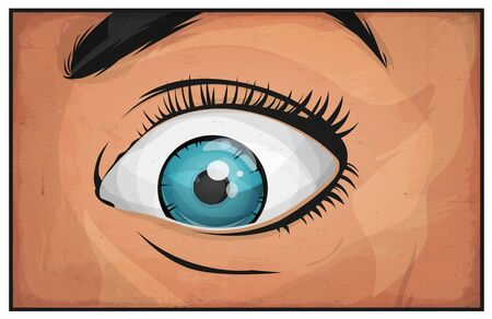Illustration of a cartoon comic female eye watching and staring at you with surprise and grunge textured