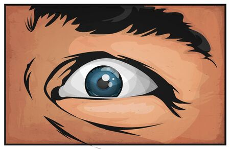 Illustration of a cartoon comic male eye watching and staring at you with scare and grunge textured