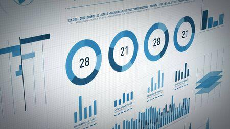 4K-Animation einer Reihe von Designgeschäfts- und Marktdatenanalysen und -berichten mit Infografiken, Balkenstatistiken, Diagrammen und Diagrammen