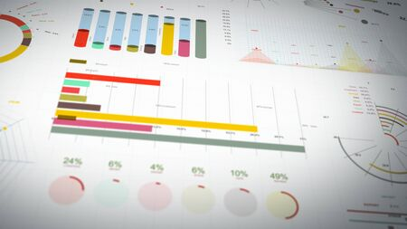 4k animation of a set of design business and market data analysis and reports, with infographics, bar stats, charts and diagrams