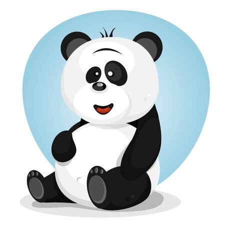 Illustration of a friendly cartoon panda bear character