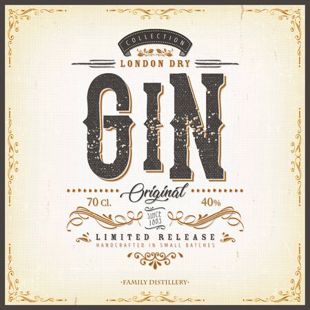 Illustration of a vintage design elegant london dry gin label, with crafted lettering, specific product mentions, textures and hand drawn patterns
