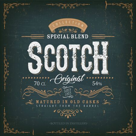 Illustration of a vintage design elegant whisky label, with crafted letterring, specific product mentions, textures and celtic patterns, on blue and gold background Ilustrace
