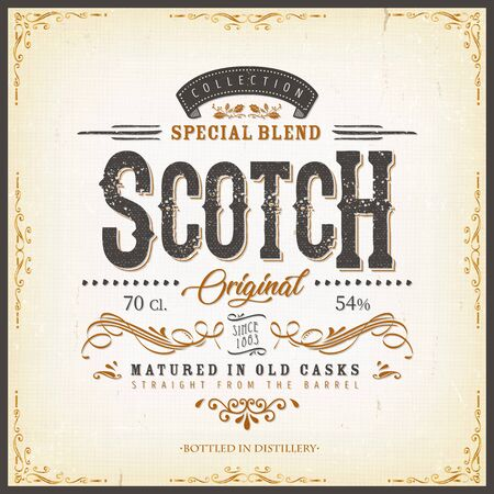 Illustration of a vintage design elegant whisky label, with crafted letterring, specific product mentions, textures and celtic patterns, on blue and gold background Ilustracja