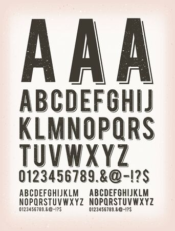 Illustration of a set of retro western design abc typefont, in regular, grunge and shadow version, also working for tattoo, on vintage and grunge background Ilustracja
