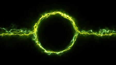 Illustration of a scifi fantasy electric plasma ring background with electric neon strokes