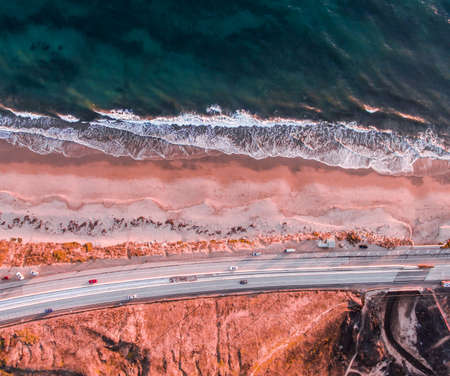 Malibu Drone shot of PCH Stock Photo