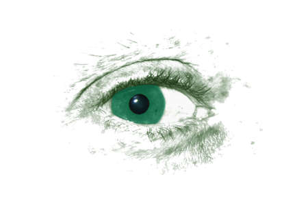 Black and white eye with turquoise iris