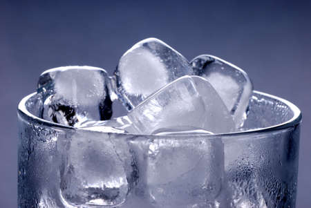 Ice cubes in glass photo