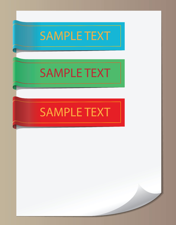 Color vector bookmarks, ribbons, banners on white paper Vector
