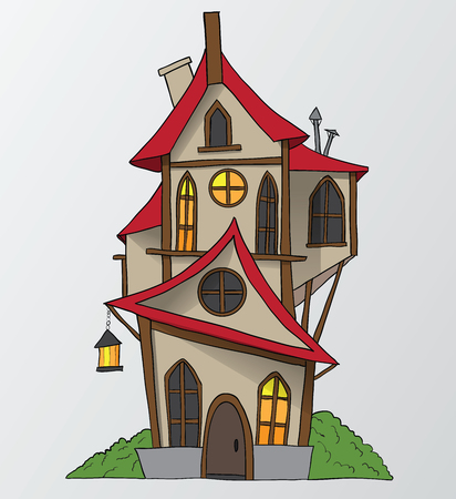 home deco: funny house cartoon vector illustration Illustration
