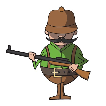 Cartoon hunter on a white background  Vector illustration
