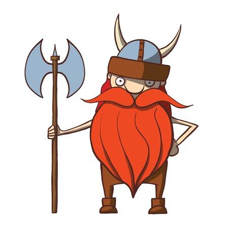 cartoon warrior: Divertente viking cartone animato con illustrazione vettoriale ascia