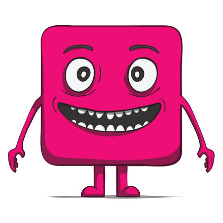 dude: Funny cube dude  Square character  Vector illustration Illustration